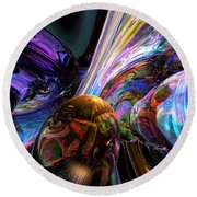 Calming Madness Abstract Round Beach Towel