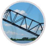 Caloosahatchee Train Draw Bridge Round Beach Towel