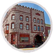 Calumet Hotel-1887 In Pipestone-minnesota  Round Beach Towel