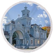 Calvary Gatehouse  Round Beach Towel