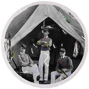 Calvary Troopers On Bivouac Tent Date Unknown Image Restored Color Added 2008  Round Beach Towel
