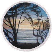 Cambria Cypress Trees At Sunset Round Beach Towel