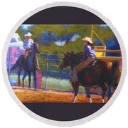 Camden Cowboy And Cowgirl Round Beach Towel