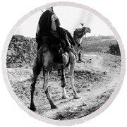 Camel Rider Round Beach Towel