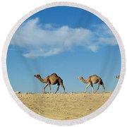Camel Train Round Beach Towel