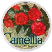 Camellia Crate Label Round Beach Towel