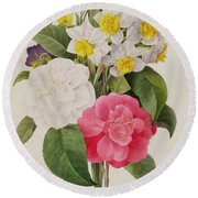 Camellias Narcissus And Pansies Round Beach Towel