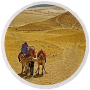 Camels Nuzzling On The Giza Plateau-egypt  Round Beach Towel