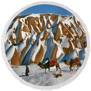 Camels On The Snow Round Beach Towel
