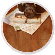 Camera Map And Postcards Round Beach Towel