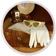 Camera Sunglasses On Luggage Round Beach Towel