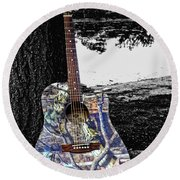 Camo Guitar Round Beach Towel