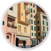 Camogli - Homes And Promenade Round Beach Towel