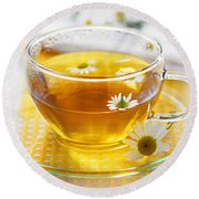Chamomile Tea Round Beach Towel
