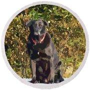 Camouflage Labrador - Black Dog - Retriever Round Beach Towel