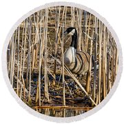Camouflaged Canada Goose Round Beach Towel