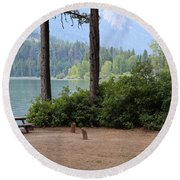 Camp By The Lake Round Beach Towel