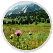 Chautauqua Wildflowers Boulder Round Beach Towel