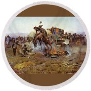 Camp Cooks Trouble Round Beach Towel by Charles Russell