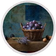 Campagnard - Rustic - S01obv Round Beach Towel by Variance Collections