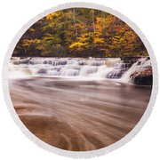 Campbell Falls In Autumn Round Beach Towel