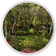 Campbell Rhododendron Gardens 2am 6831-6832 Panorama Round Beach Towel