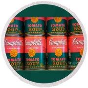 Campbell's Tomato Soup Pop Art Round Beach Towel