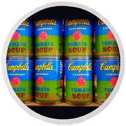 Campbell's Tomato Soup Retro Andy Warhol Round Beach Towel