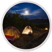 Campfire And Moonlight Round Beach Towel
