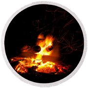 Campfire As A Symbol Of Warmth And Life On Black Round Beach Towel