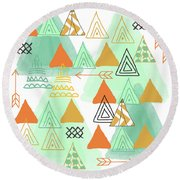 Camping Round Beach Towel by Linda Woods