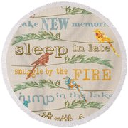 Camping Rules-c Round Beach Towel