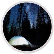 Camping Under The Stars Round Beach Towel