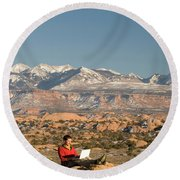 Camping With Laptop Round Beach Towel