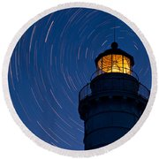 Cana Island Lighthouse Solstice Round Beach Towel