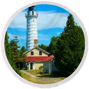 Cana Island Wi Lighthouse Round Beach Towel