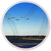 Canada Geese At Northside Park Round Beach Towel