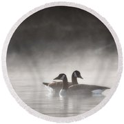 Canada Geese In The Fog Square Round Beach Towel
