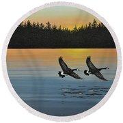 Canada Geese Round Beach Towel