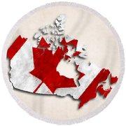 Canada Map Art With Flag Design Round Beach Towel