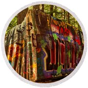 Canadian Box Car In The Forest Round Beach Towel