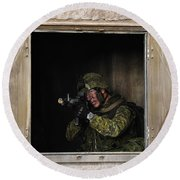 Canadian Army Soldier Conducts Military Round Beach Towel by Stocktrek Images