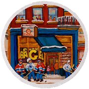 Canadian  Artists Paint Hockey And Montreal Streetscenes Over 500 Prints Available  Round Beach Towel