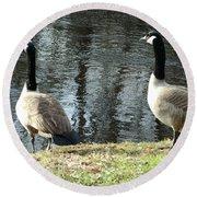 Canadian Geese On Spaulding Pond Round Beach Towel