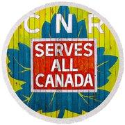 Canadian National Railway Stamp Round Beach Towel