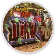 Canadian Pacific Train Wreck Graffiti Round Beach Towel