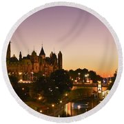 Canadian Parliament Buildings Round Beach Towel by Tony Beck