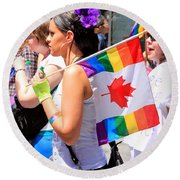 Canadian Rainbow Round Beach Towel