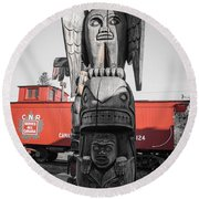Canadian Totem And Railway Round Beach Towel