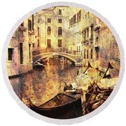 Canal And Docked Gondolas In Venice Round Beach Towel